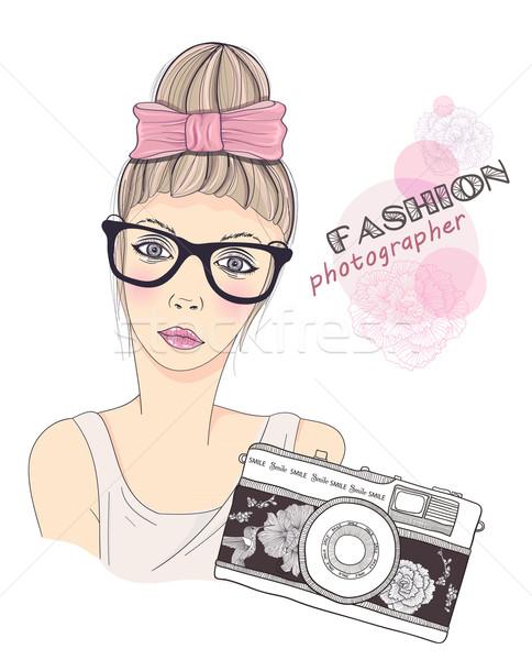 Fashion girl photographer vector background. Retro camera background. Stock photo © lapesnape