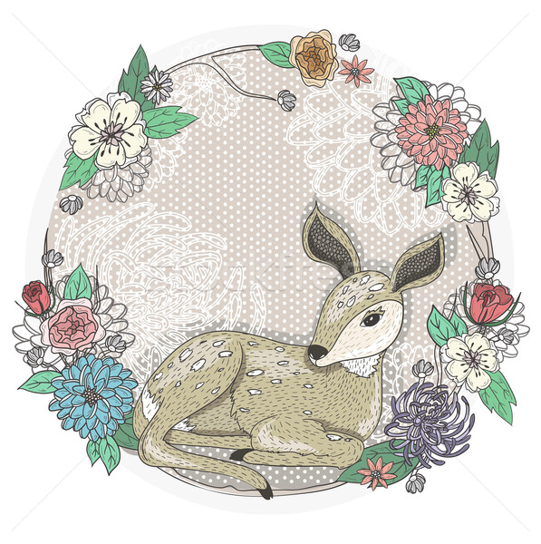 Cute baby deer and flowers frame. Stock photo © lapesnape