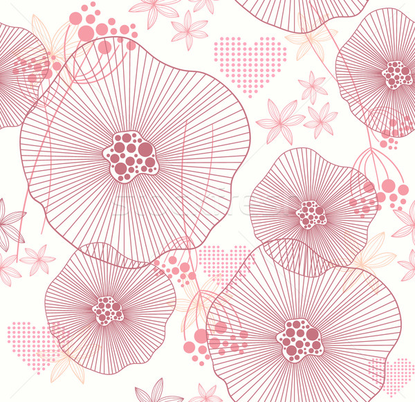 Cute pink seamless pattern with flowers and hearts Stock photo © lapesnape