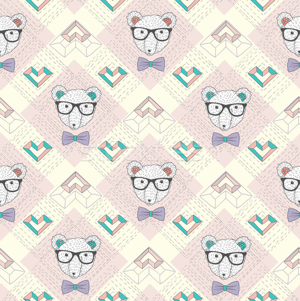 Seamless pattern with hipster polar bear and hearts.  Stock photo © lapesnape