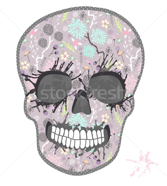 Cute skull with floral pattern. Skull from flowers Stock photo © lapesnape