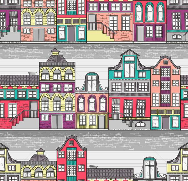 Cute Amsterdam houses seamless pattern Stock photo © lapesnape