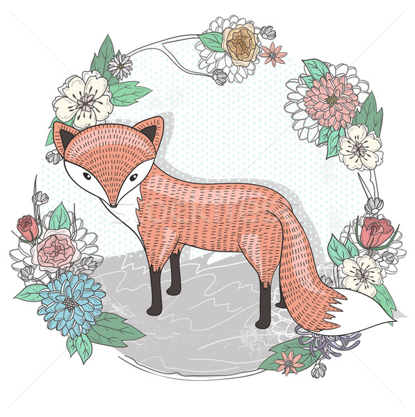 Cute peu Fox illustration fleur cadre Photo stock © lapesnape