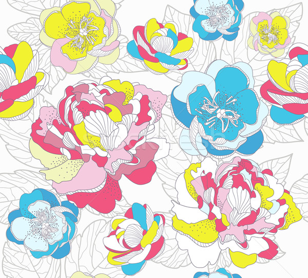 Seamless colorful floral pattern. Background with flowers.  Stock photo © lapesnape