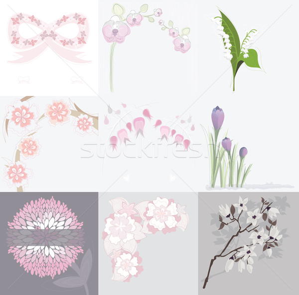 Set of various floral background greeting or birthday cards and  Stock photo © lapesnape