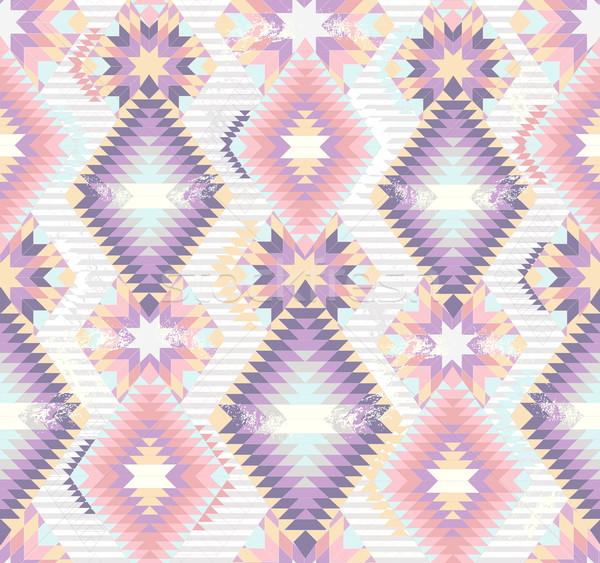 ストックフォト: 抽象的な · 幾何学的な · シームレス · パターン · カラフル · スタイル