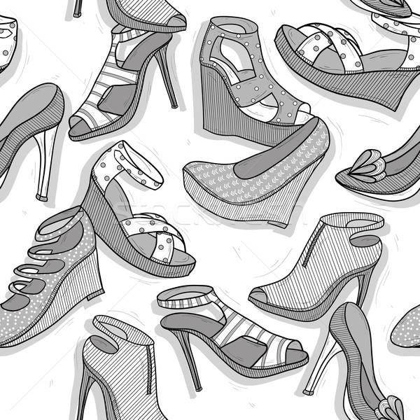 Divat cipők végtelen minta lányok bolt nyomtatott Stock fotó © lapesnape