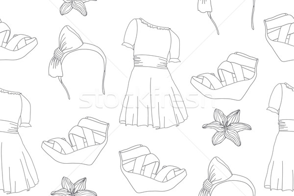 Hand drawn cute fashion seamless pattern with dresses, wedge san Stock photo © lapesnape
