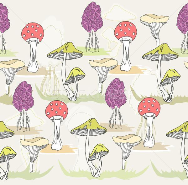 Streszczenie cute bezszwowy kolorowy grzyby wzór Zdjęcia stock © lapesnape