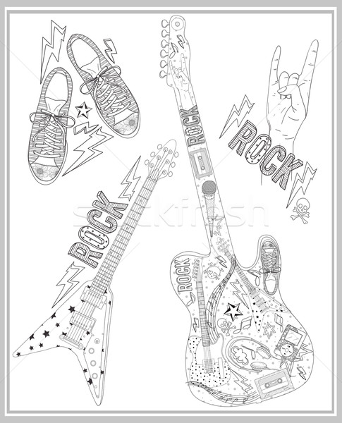 Rock music design elements set. Stock photo © lapesnape