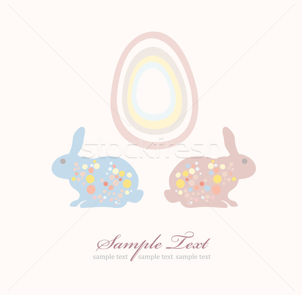 Cute easter rabbit and egg card Stock photo © lapesnape