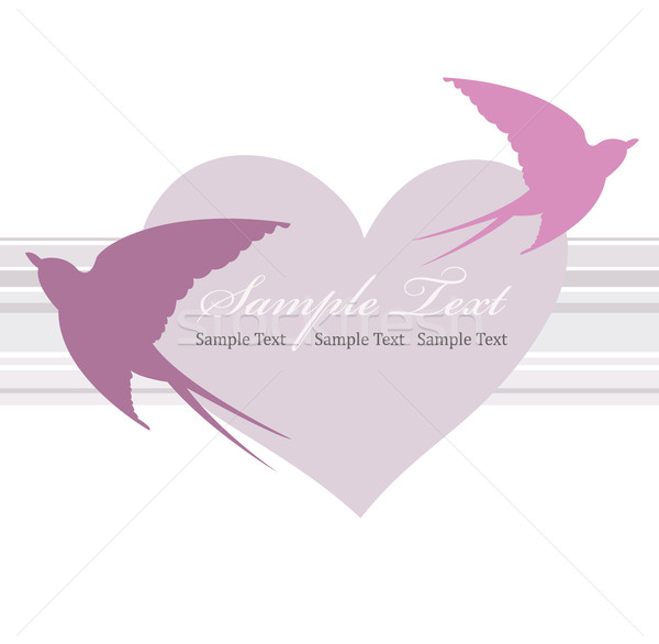 Valentines day card with heart and swallow Stock photo © lapesnape