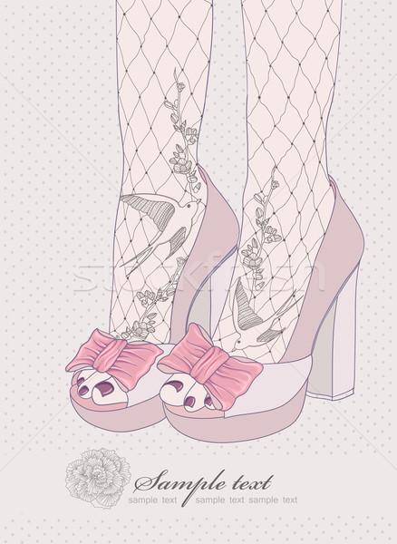 Fashion illustration.Background with high heels shoes.  Stock photo © lapesnape
