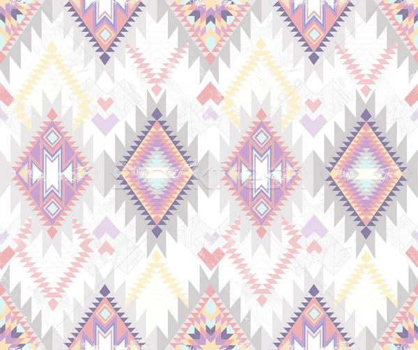 Stock photo: Abstract geometric seamless aztec pattern. Colorful ikat pattern