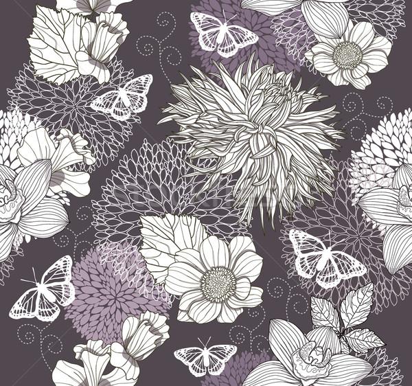 Fleurs papillon floral fleur design Photo stock © lapesnape