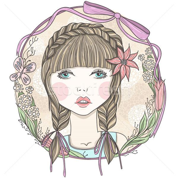 Bastante menina flores borboleta elemento quadro Foto stock © lapesnape