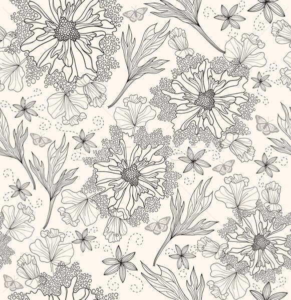 Streszczenie kwiatowy wzór kwiaty motyle Zdjęcia stock © lapesnape