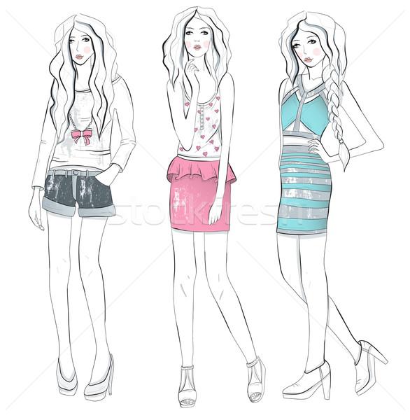 Fiatal divat lányok illusztráció tini nők Stock fotó © lapesnape