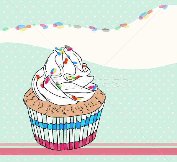 Cute birthday card with cupcake Stock photo © lapesnape