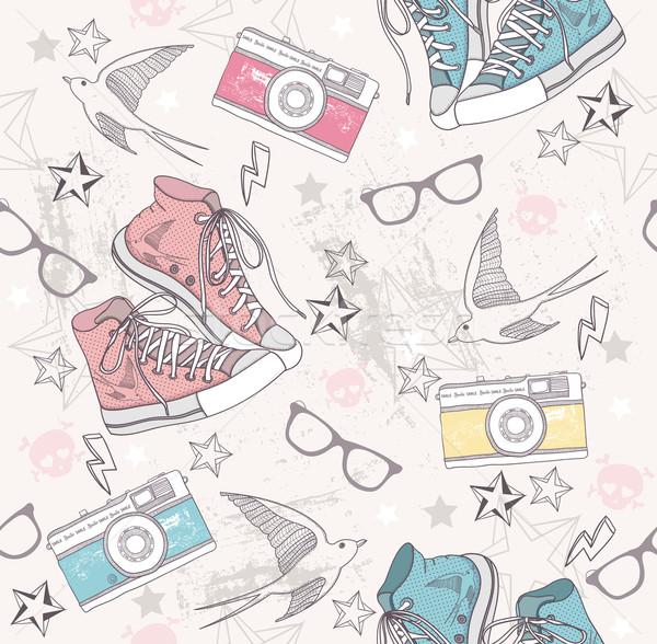 Aranyos grunge absztrakt minta végtelen minta cipők Stock fotó © lapesnape