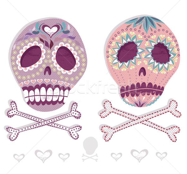 Mexican skull set. Colorful skulls with flower and heart  Stock photo © lapesnape