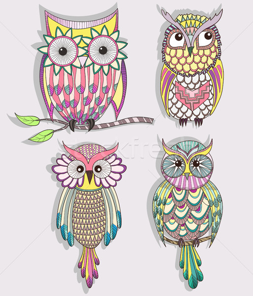 Set of cute colorful owls Stock photo © lapesnape