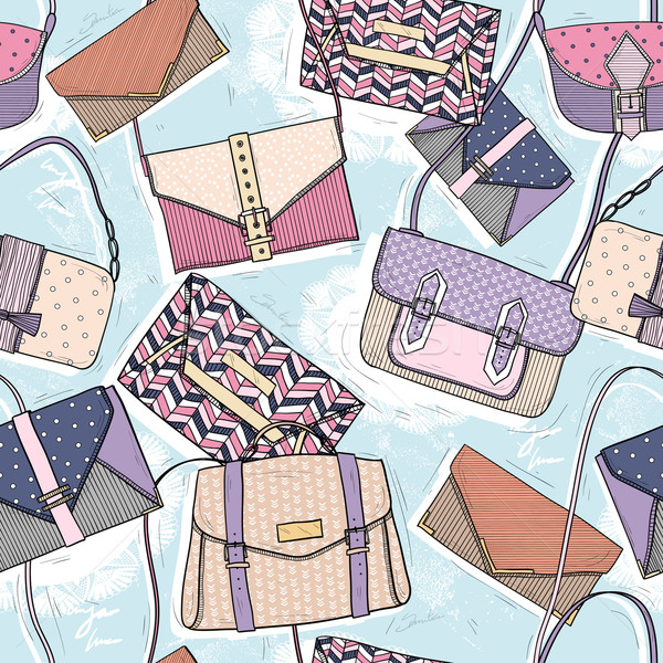 Cute seamless fashion pattern for girls or woman. Background wit Stock photo © lapesnape