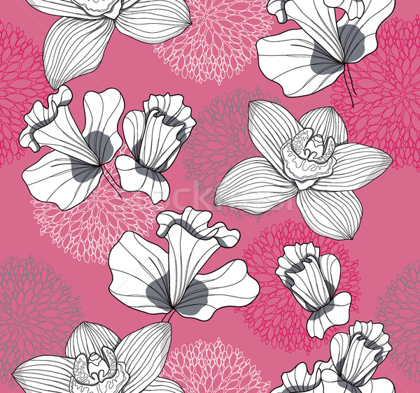 Seamless pattern with flowers. Floral background. Stock photo © lapesnape