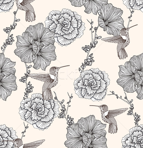 Seamless pattern with flowers and birds. Floral background. Stock photo © lapesnape