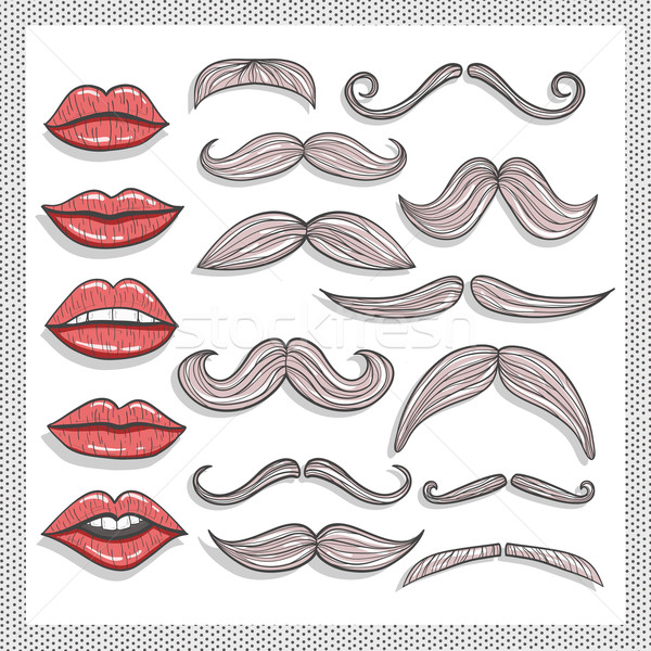 Retro lips and mustaches elements set Stock photo © lapesnape