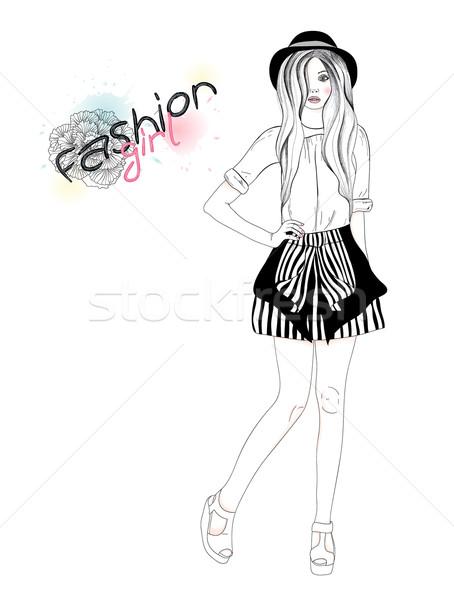 Fiatal gyönyörű lány divat illusztráció tini női Stock fotó © lapesnape