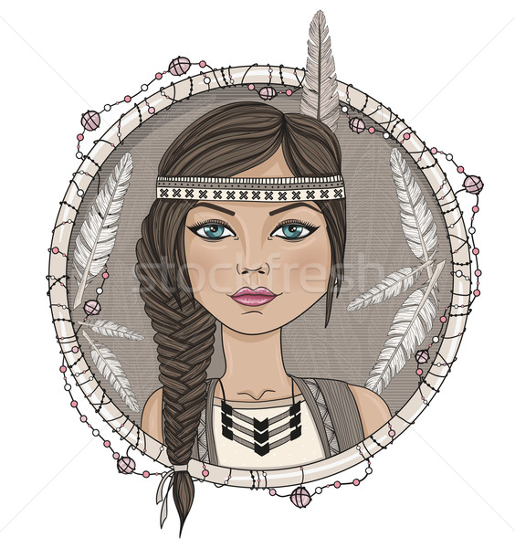 Cute native american girl and feathers frame. Stock photo © lapesnape