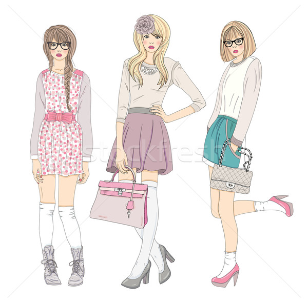Stock photo: Young fashion girls illustration. Vector illustration.