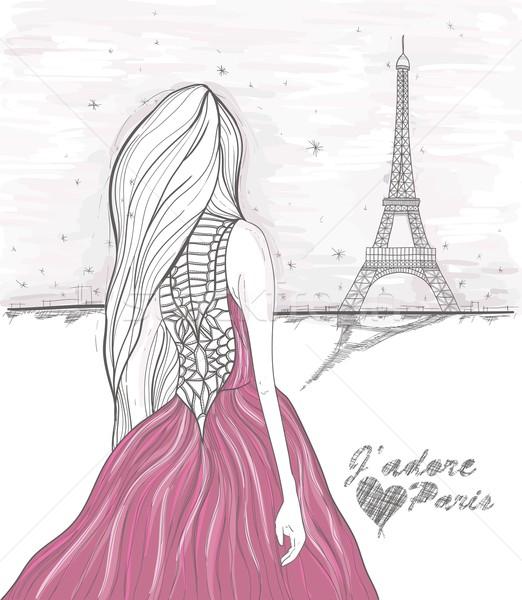 Menina Torre Eiffel Paris cartão postal Foto stock © lapesnape