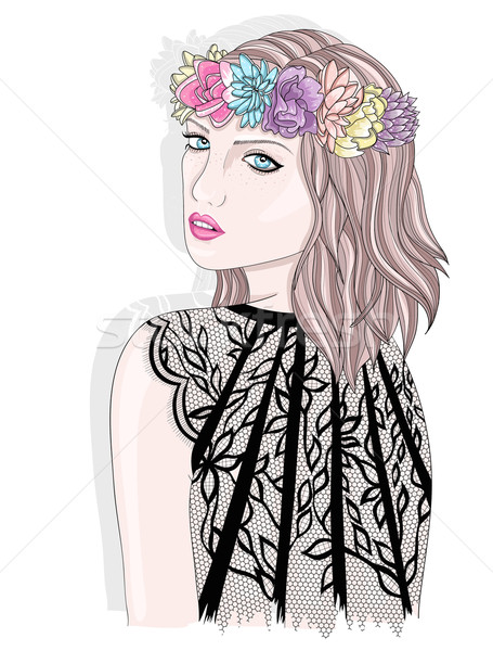 Young girl  with flower crown. Fashion illustration. Stock photo © lapesnape