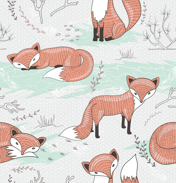 Cute seamless pattern with little foxes. Stock photo © lapesnape