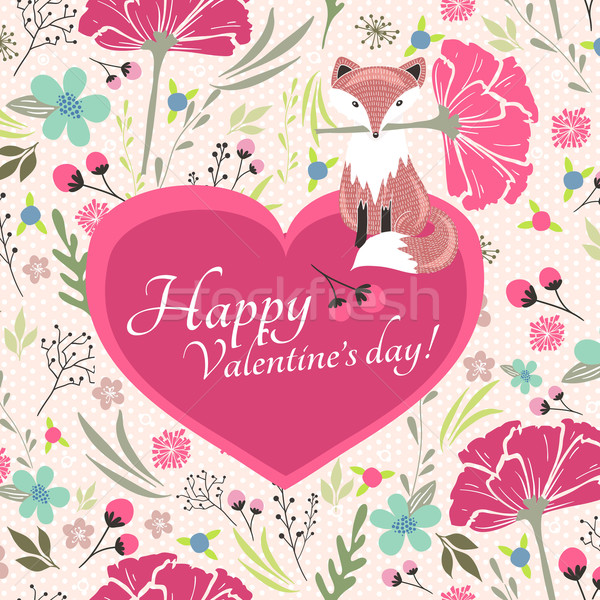 Floral valentines day card with cute little fox Stock photo © lapesnape