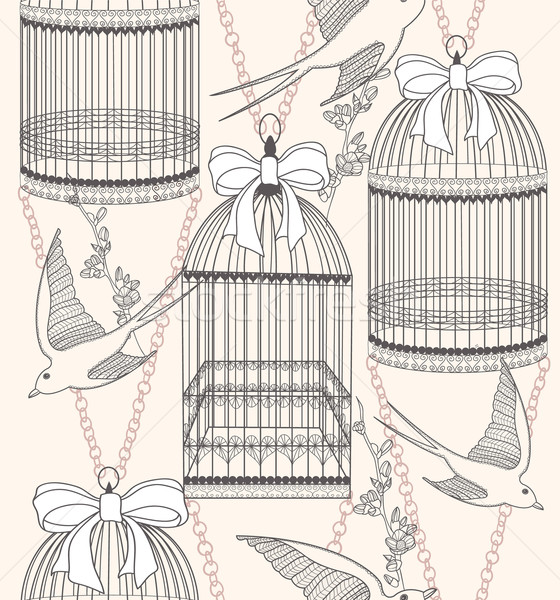 Seamless pattern with birdcages, flowers and birds. Floral pattern. Stock photo © lapesnape