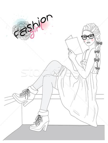 Foto stock: Jovem · beautiful · girl · moda · ilustração · adolescente · feminino