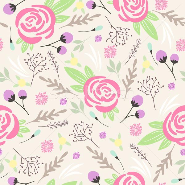 Sem costura floral padrão flores primavera arte Foto stock © lapesnape