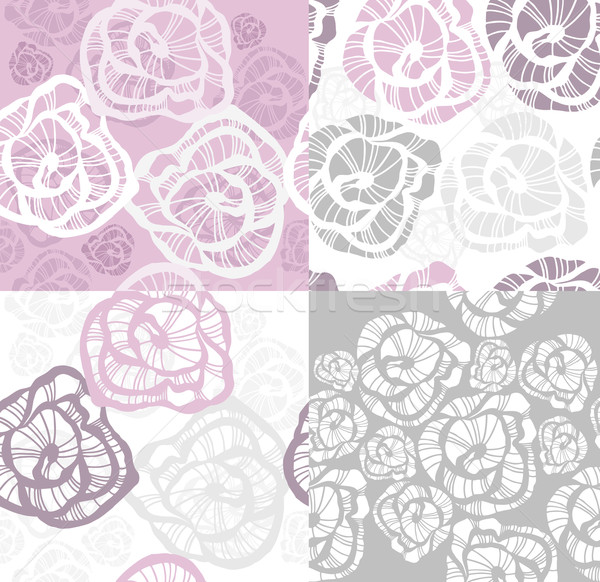 Abstract seamless flower rose pattern set. Stock photo © lapesnape