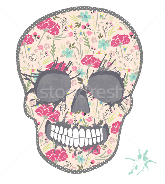 Cute skull with floral pattern. Skull from flowers. Stock photo © lapesnape