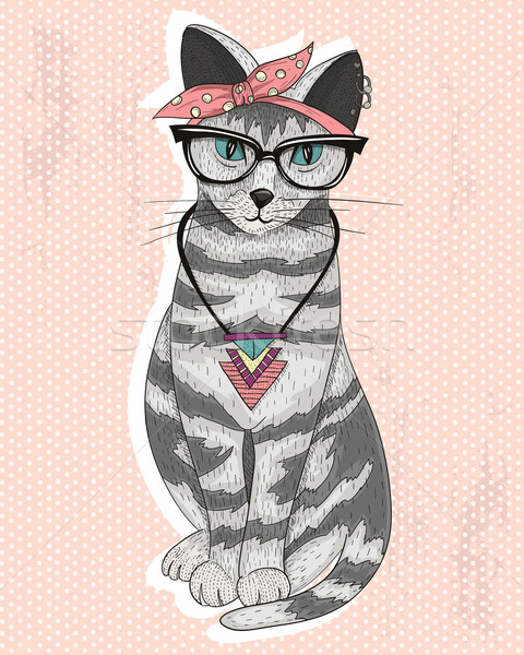 Cute hipster rockabilly cat with head scarf, glasses Stock photo © lapesnape