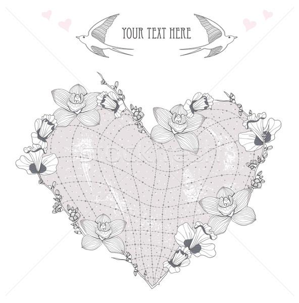 Saint valentin carte coeur fleurs carte postale carte de vœux Photo stock © lapesnape