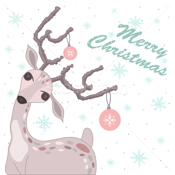 Christmas card with deer Stock photo © lapesnape