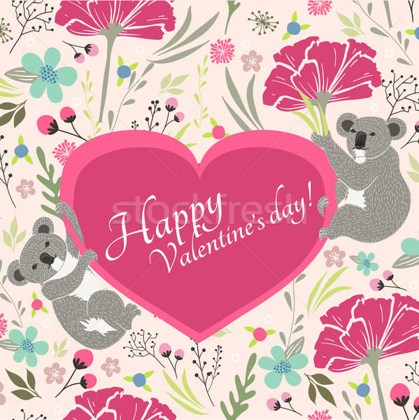 Floral valentines day card with cute koala bears Stock photo © lapesnape