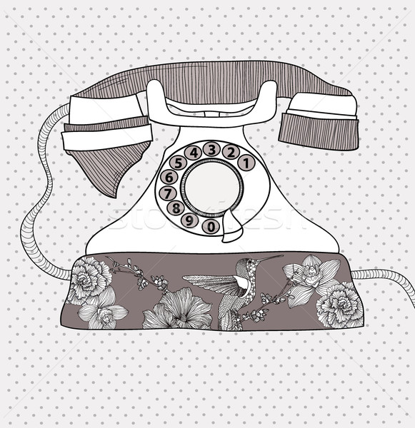 Background with retro telephone. Vector vintage illustration.  Stock photo © lapesnape