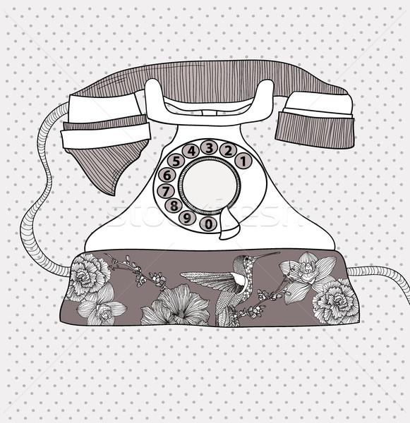 1333977 fundo-retro-telefone-vetor-vintage-flores jpgVintage Telephone Illustration