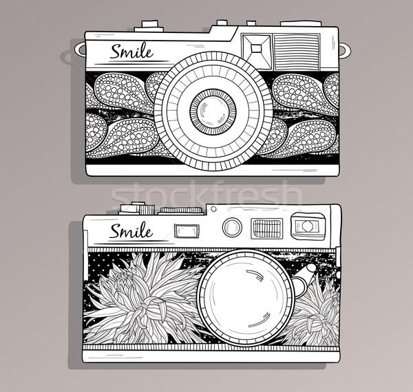Retro fotó fényképezőgépek szett klasszikus virágok Stock fotó © lapesnape