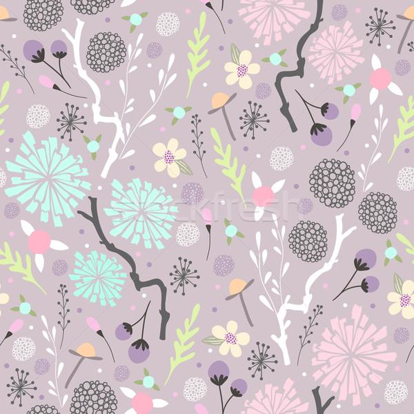 Bezszwowy kwiatowy wzór kwiaty sztuki tkaniny Zdjęcia stock © lapesnape